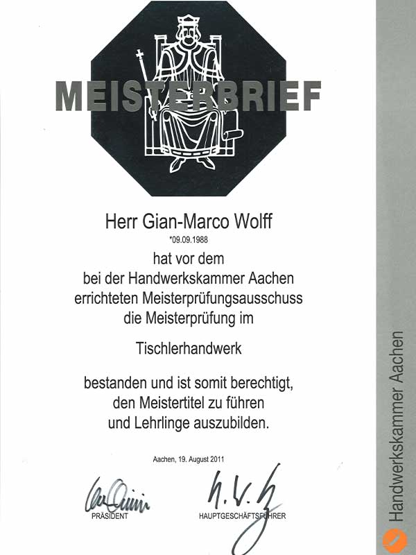 Meisterbrief Gian Marco
